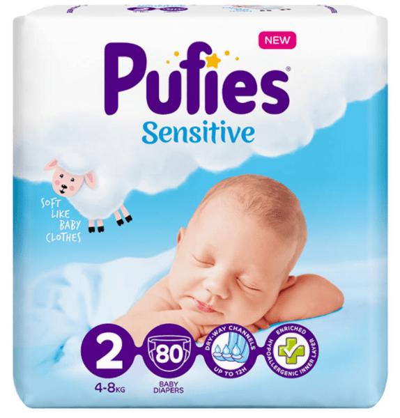 Пелени Pufies Sensitive Размер 2 4-8 кг  80 бр