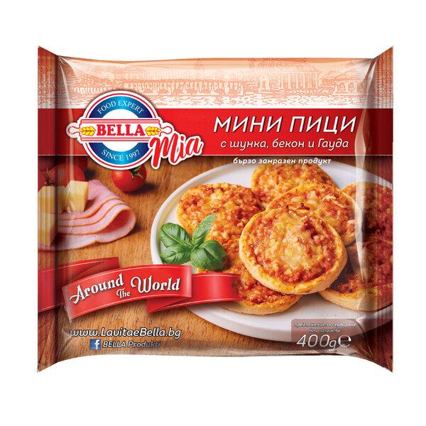 BELLA MIA Мини пици с шунка, бекон и гауда 400 гр.