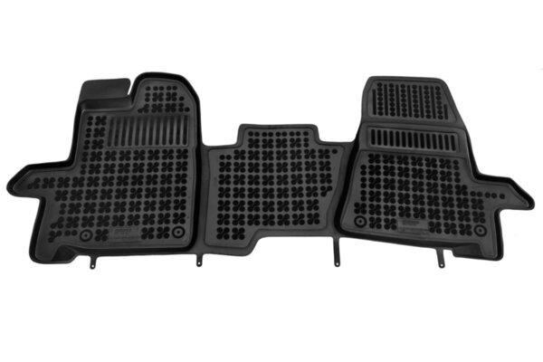 Гумени стелки за Ford TOURNEO CUSTOM версия за 3 пътника, отпред с допълнителен материал от страната на водача, ръчна скоростна кутия - модел от 2013 до 2020 година
