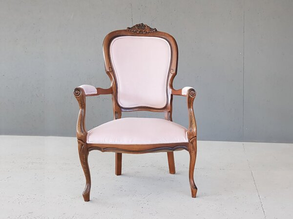 Vintage Pale Pink Reupholstered Voltaire Louis XV StyleArmchair