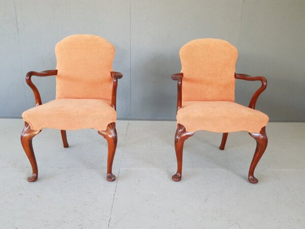 Pair of French Vintage Peach Velvet Upholstery Arm Chairs