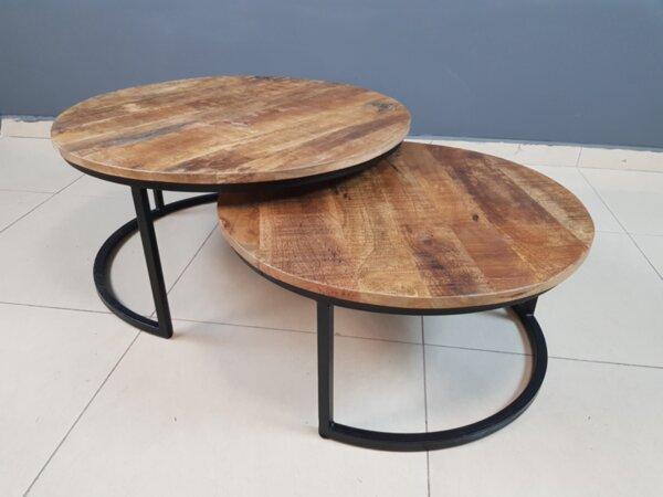 Комплект от 2 Холни Маси от Мангова Дървесина в Рустик Индустриален Стил