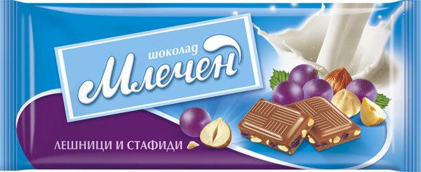 Шоколад МЛЕЧЕН лешник и стафиди 80 г