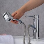 Смесител Aquaware с функция издърпване и гъвкав шлаух, дъжд/струя, хром