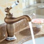 Винтидж смесител Aquaware, за баня, бронз с орнаменти