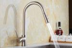 Смесител Aquaware за кухня с функция издърпване и гъвкав шлаух, висок, хром