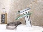 Смесител Aquaware, тип водопад, в комбинация метал и стъкло