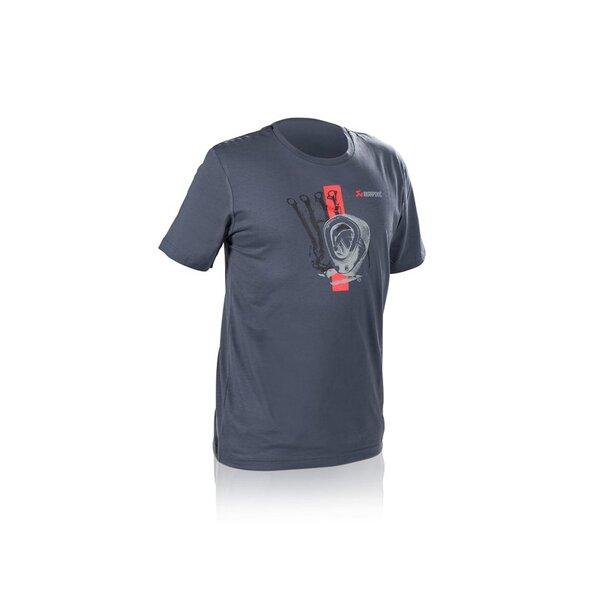 Тениска Akrapovic Lifestyle Red Strip Синьо-Сива