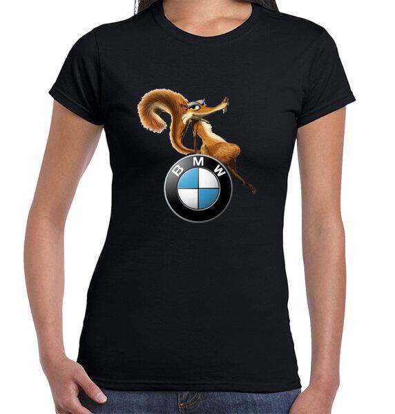 Ice Age BMW Squirrel Scraty 2 / CAR 83 - дамска тениска черна
