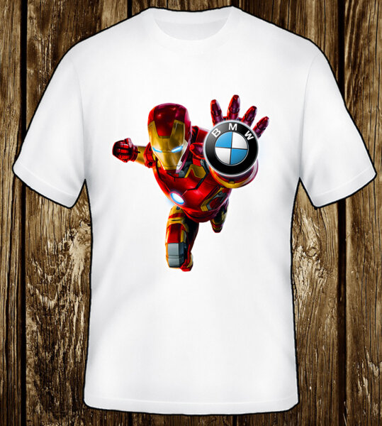 Iron Man BMW Logo / CAR 311 - мъжка тениска бяла