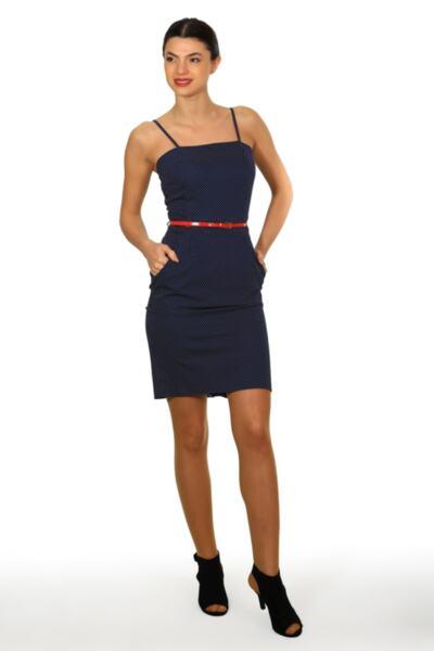 Дамска рокля на точки с презрамки