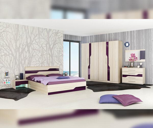 Спален комплект Виена 160X200 пясъчен дъб - лилаво огледален гланц