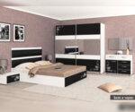 Спален комплект Виена 160X200 пясъчен дъб - лилаво огледален гланц-Copy