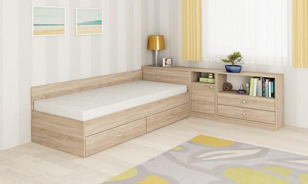 Комплект легло Мареа 1 за матрак 82X190 + шкаф Мареа 2