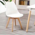 Трапезен стол Нордик в бяло