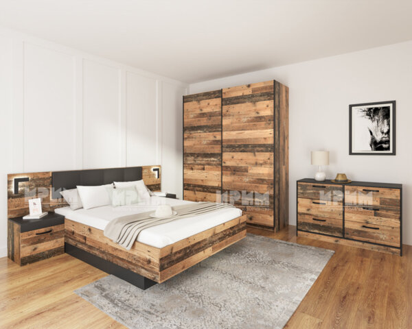 Спален комплект Сити 7060 160Х200 с лед осветление
