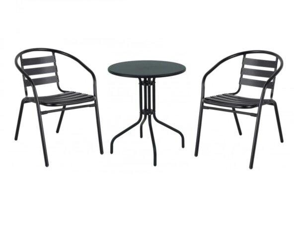 Градински комплект ТИДО - маса с 2 стола в черно