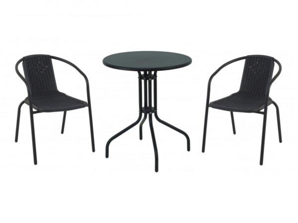 Градински комплект РИКО - маса с 2 стола в черно