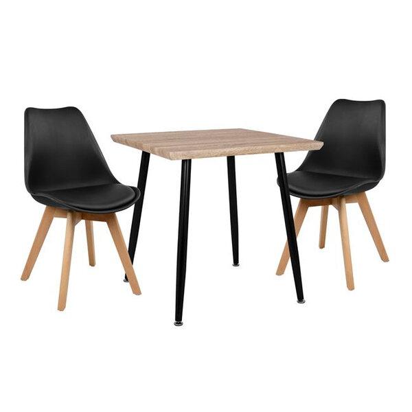 Комплект маса с 2 стола Виктория в черно