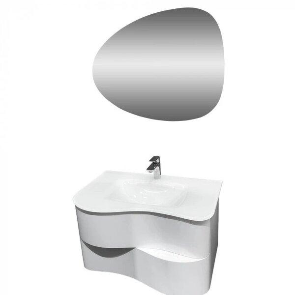 Комплект за баня долен шкаф и LED огледало Макена Сарагоса