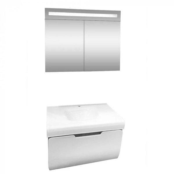 Комплект за баня долен шкаф и LED огледало Макена Малага