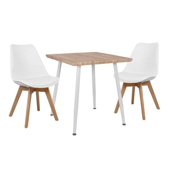 Комплект маса с 2 стола Виктория в бяло