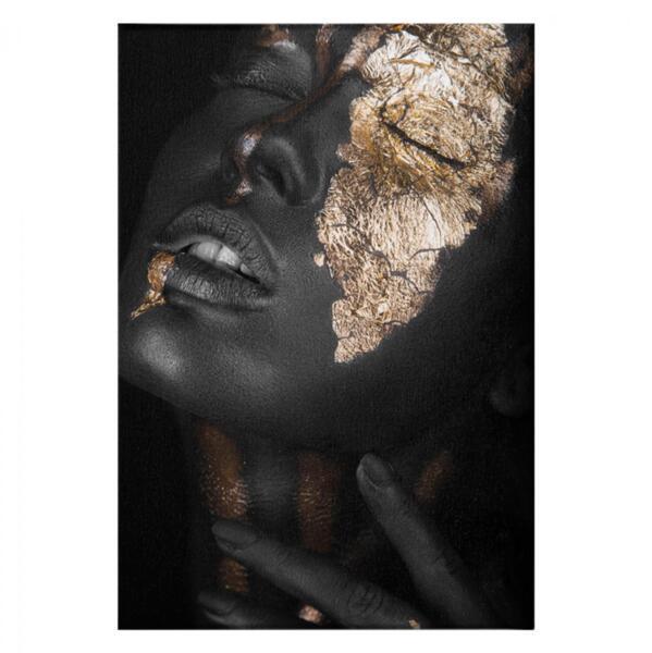 Картина с тъмнокожо момиче със златен грим 50x70