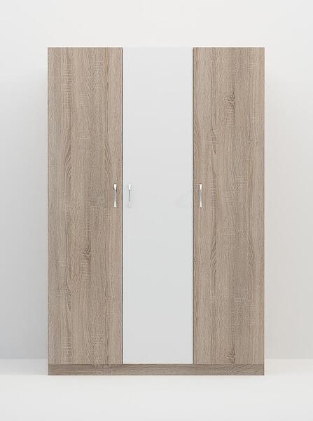 Трикрилен гардероб АНДРЕА дъб сонома - бяло