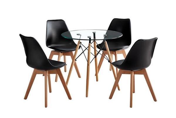 Трапезен комплект маса + 4 черни стола КРИСТАЛ ВЕГАС