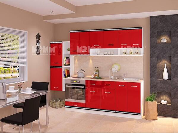 Модулна кухня Сити 737 в червен гланц и бяло