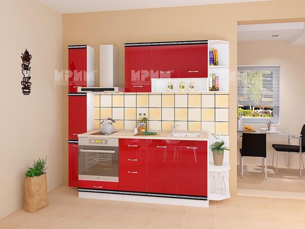 Модулна кухня Сити 736 в червен гланц и бяло