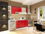Модулна кухня Сити 738 в червен гланц и бяло