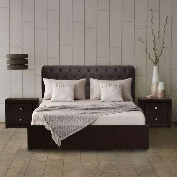 Спалня Моне честърфийлд тъмно кафява 150x200