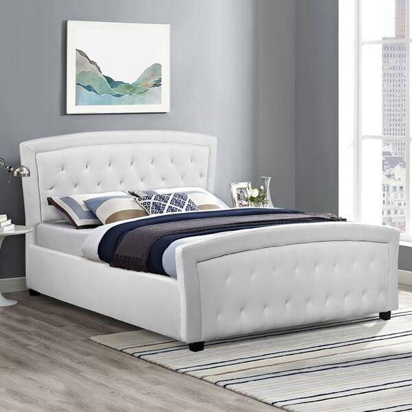 Спалня Оделия бяла кожа 150х200