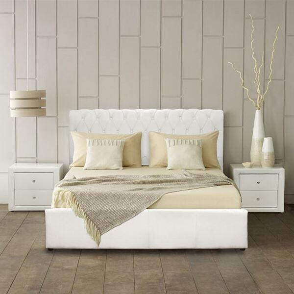 Спалня Моне честърфийлд бяла 150x200