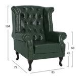 Кожено кресло Полина 1 тип Честърфийлд в 3 цвята