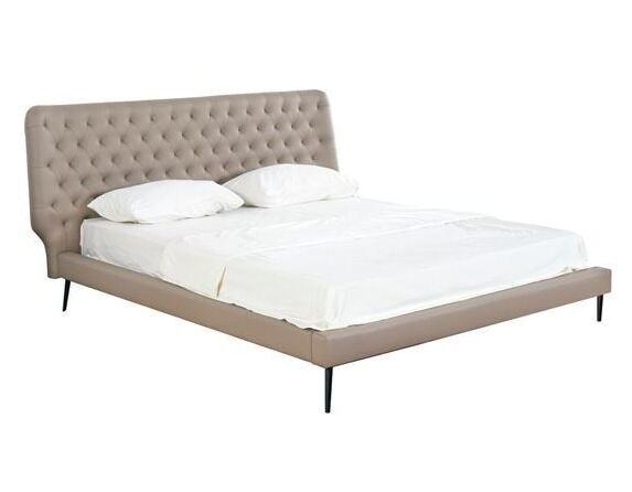 Спалня Кензо 160x200 бежова кожа