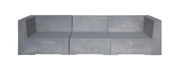 Триместен диван за градина Конкрит