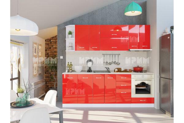 Готова кухня Сити 440 - 240 см - червен гланц