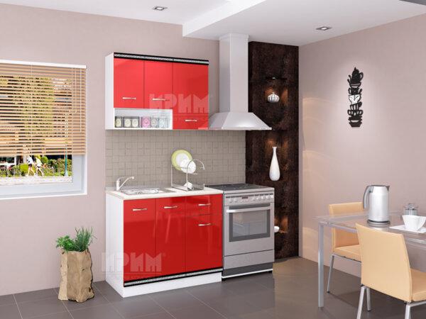 Готова кухня Сити 443 - 200 см - червено гланц