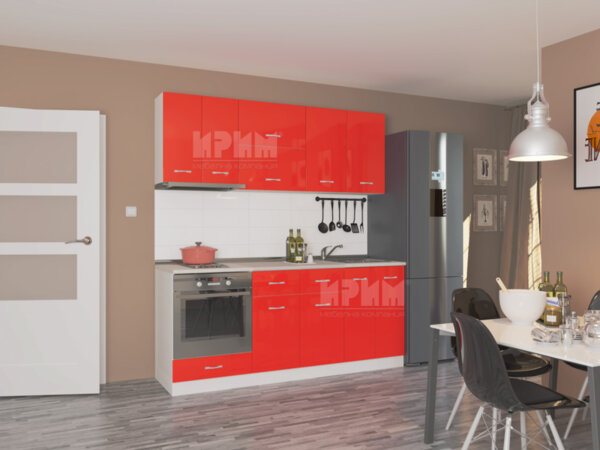 Готова кухня Сити 450 - 200 см - червено гланц