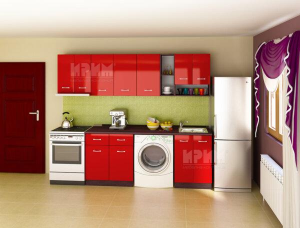 Готова кухня Сити 715 - 205 см - червен гланц