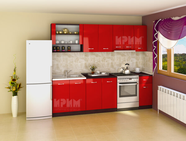 Готова кухня Сити 714 - 260 см - червен гланц