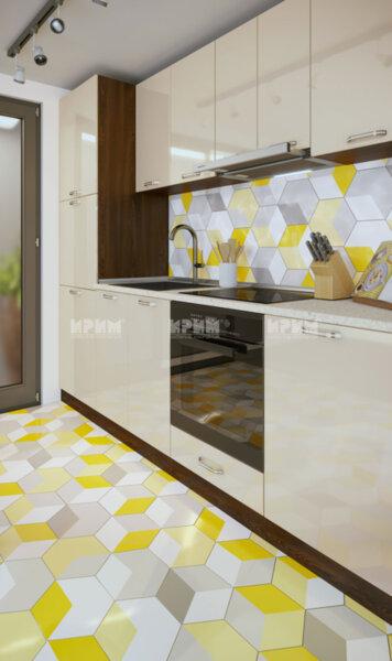 Готова кухня Сити 887 - 250 см - МДФ бяло гладко
