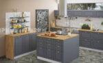 Кухня с остров Сити 854 - МДФ цимент мат - дъб класик