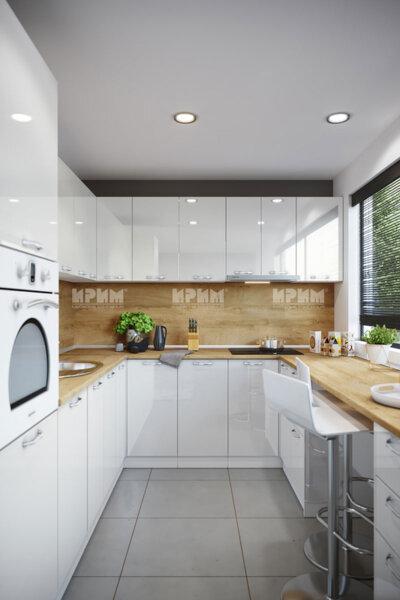 Модулна ъглова кухня Сити 940 - МДФ Бяло гланц