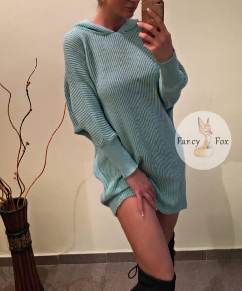 Рокля-пуловер с ''прилеп'' ръкав в цвят мента