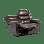 Кожен диван - двойка с релакс механизъм TALIA - тъмно кафяв