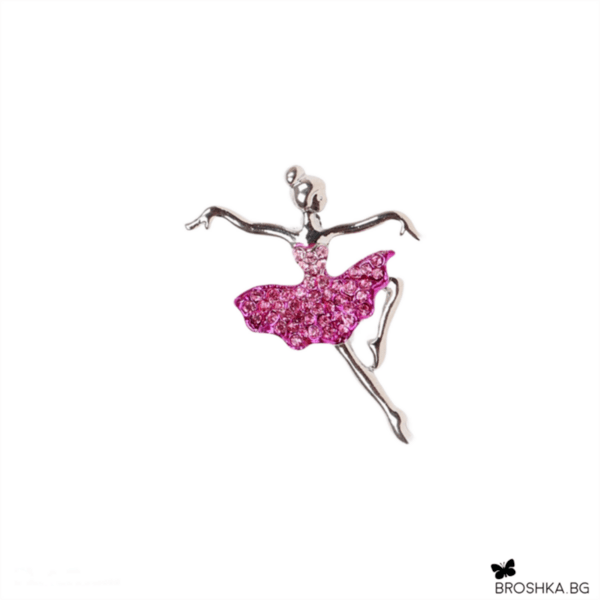 Брошка розова балерина