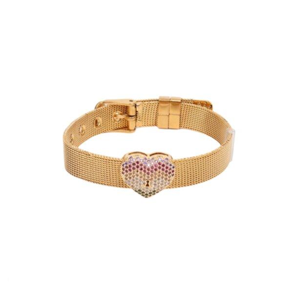 MESH гривна GOLD сърце от медицинска стомана